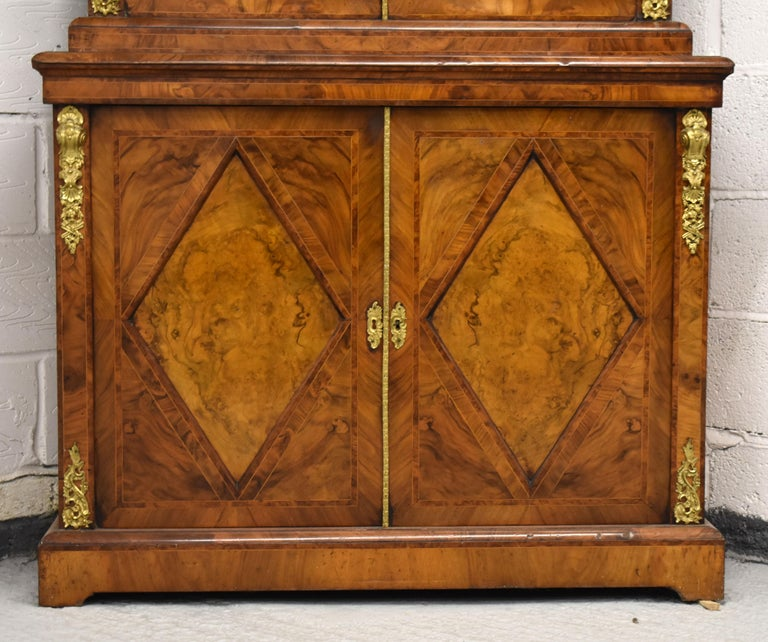 Early Victorian 19th Century English Victorian Burr Walnut Two-Door Bookcase
