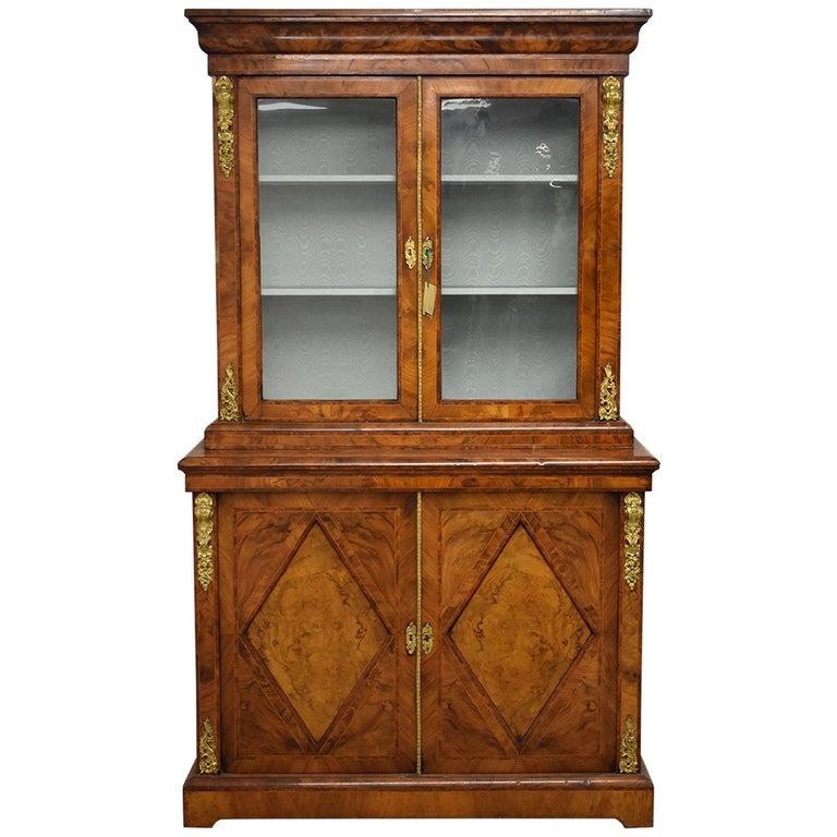 19th Century English Victorian Burr Walnut Two-Door Bookcase