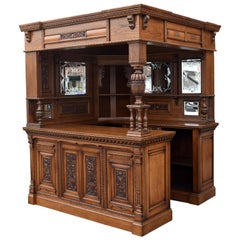 19th Century English Victorian Carved Oak Corner Bar