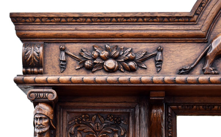 19th Century English Victorian Carved Oak Front and Back Bar For Sale 10