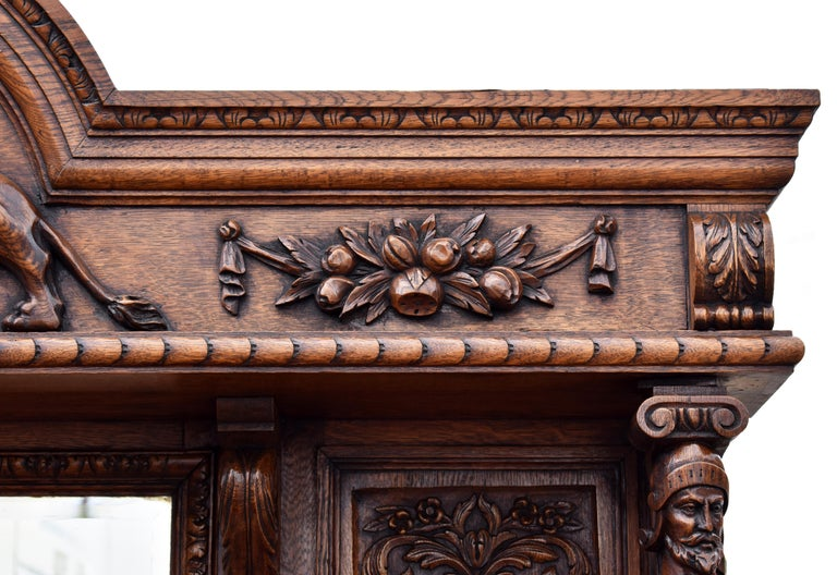 19th Century English Victorian Carved Oak Front and Back Bar For Sale 12
