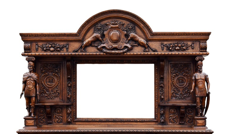 19th Century English Victorian Carved Oak Front and Back Bar For Sale 1