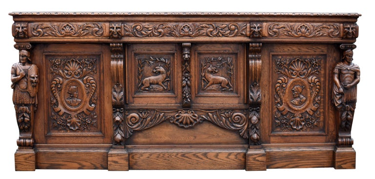 19th Century English Victorian Carved Oak Front and Back Bar For Sale 2