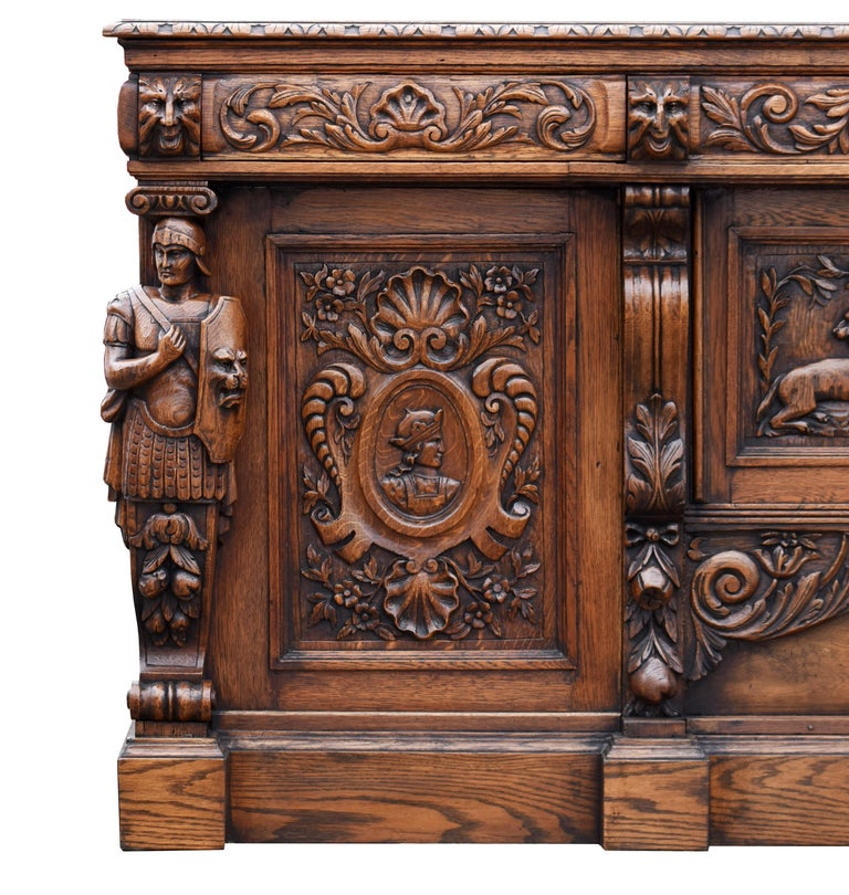 19th Century English Victorian Carved Oak Front and Back Bar For Sale 3