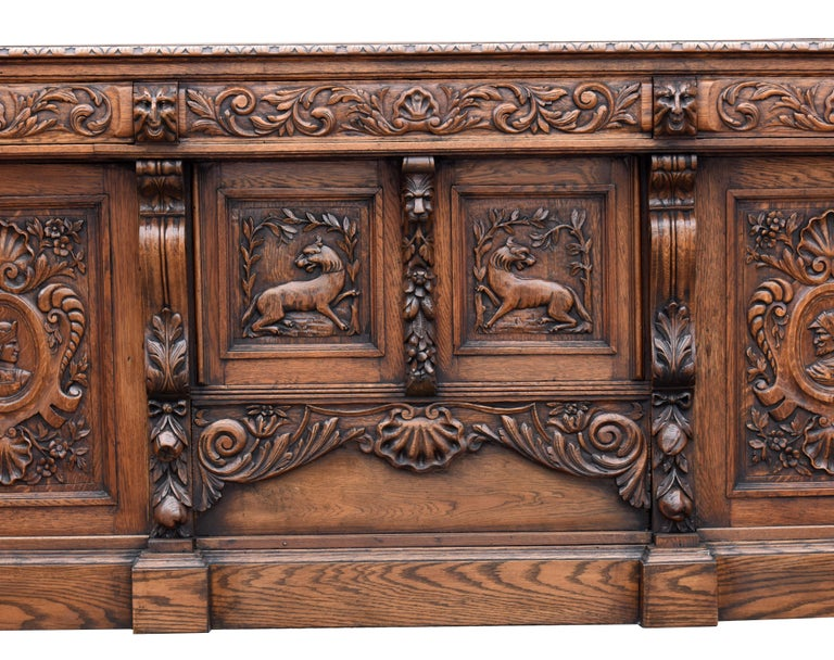 19th Century English Victorian Carved Oak Front and Back Bar For Sale 4