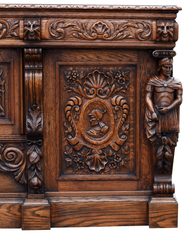 19th Century English Victorian Carved Oak Front and Back Bar For Sale 5