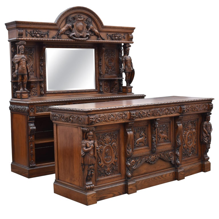 19th Century English Victorian Carved Oak Front and Back Bar For Sale