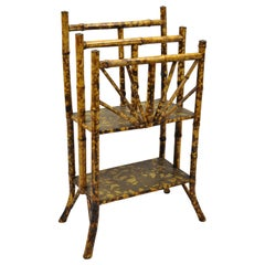 19th Century English Victorian Charred Bamboo 2-Tier Magazine Rack Stand