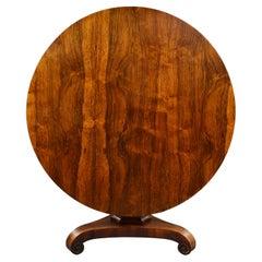 19th Century English Victorian Circular Rosewood Breakfast Table