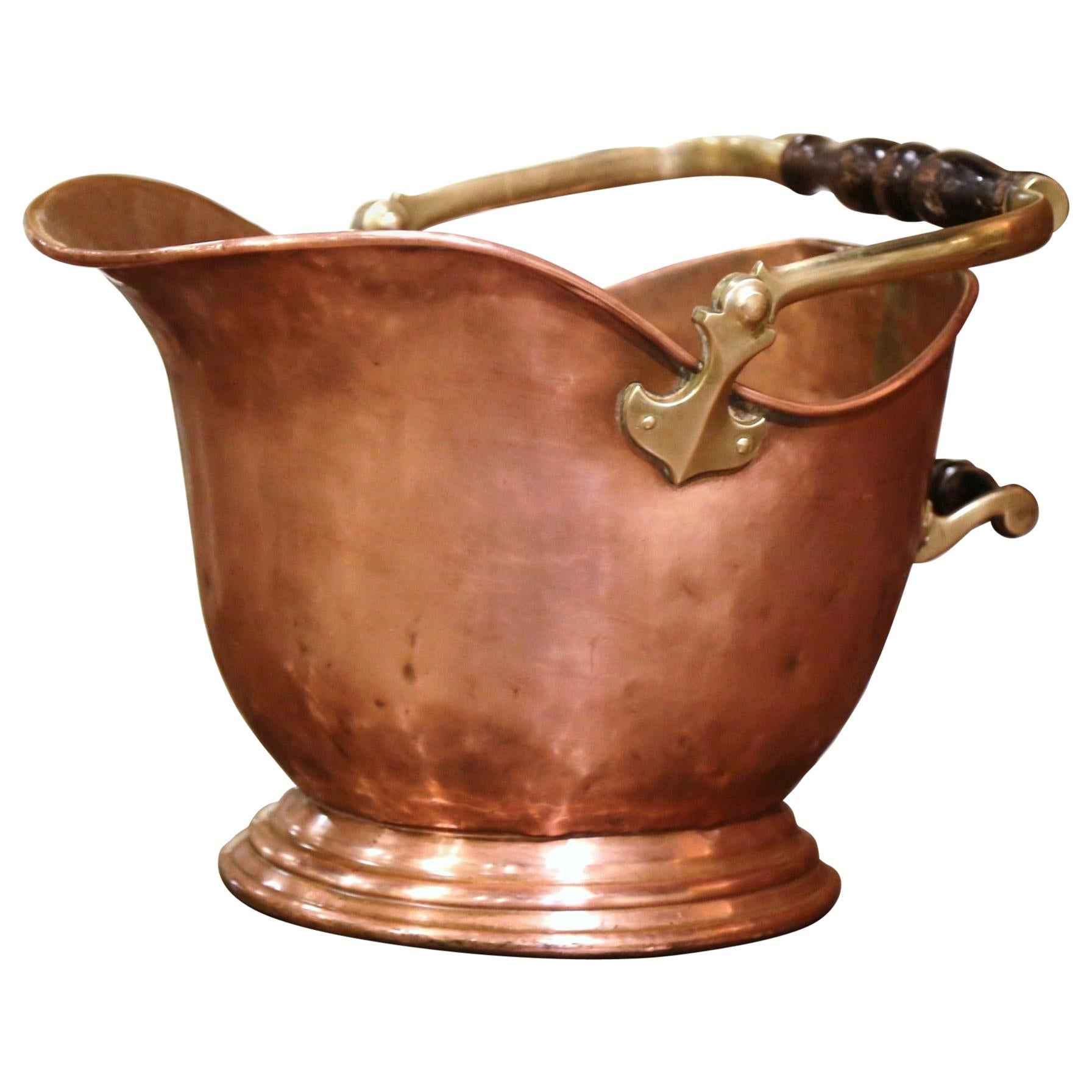 19th Century English Victorian Copper and Brass Coal Bucket