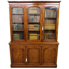19th Century English Victorian Figured Mahogany Library Bookcase
