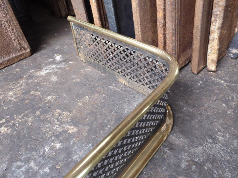Polished 19th Century English Victorian Fireplace Fender or Fire Fender For Sale