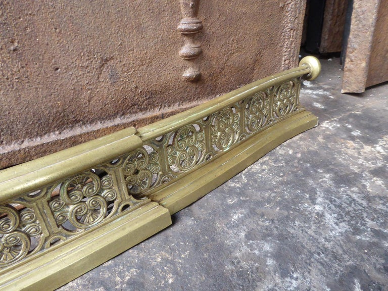 Brass 19th Century English Victorian Fireplace Fender or Fire Fender For Sale