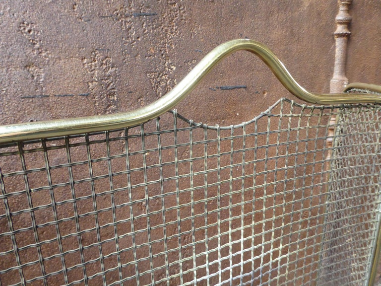 Brass 19th Century English Victorian Fireplace Screen or Fire Screen For Sale