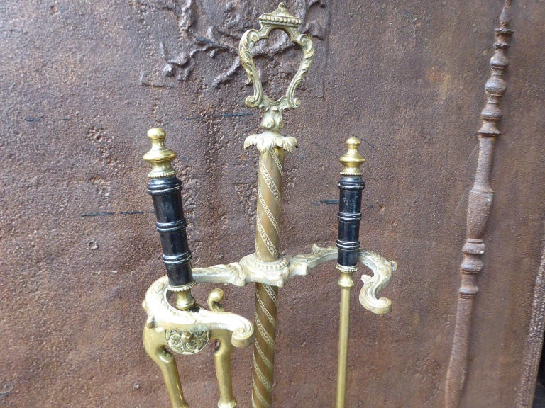 19th Century English Victorian Fireplace Tool Set or Companion Set In Good Condition For Sale In Amerongen, NL