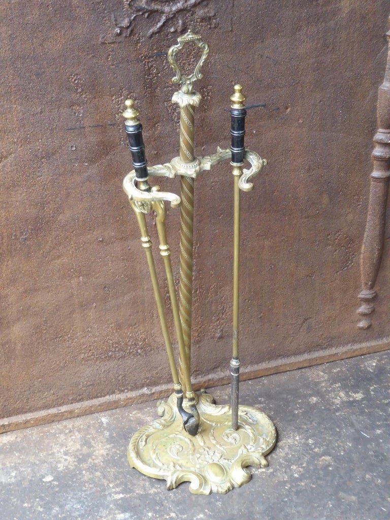 Brass 19th Century English Victorian Fireplace Tool Set or Companion Set For Sale