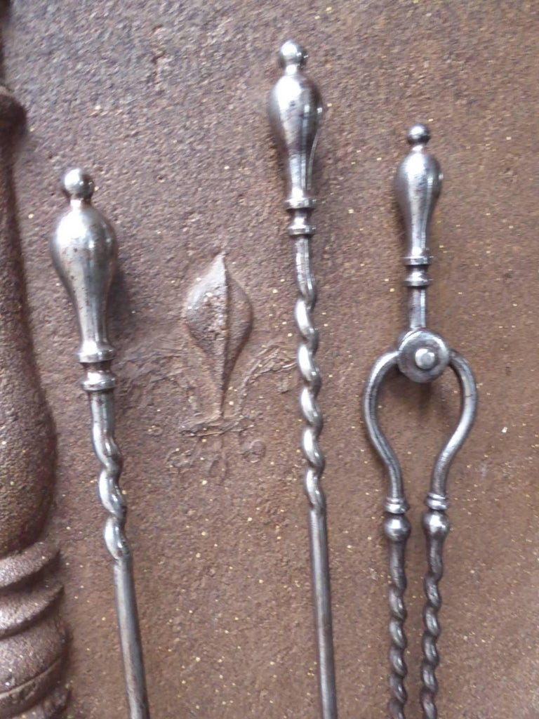 19th Century English Victorian Fireplace Tools or Companion Set For Sale 3