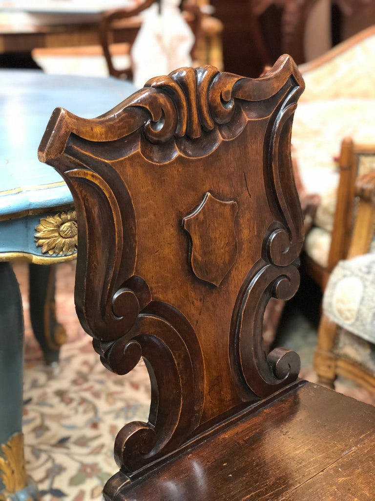 19th Century English Victorian Hand Carved Oak Hall Chairs For Sale 1