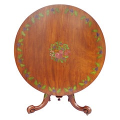 19th Century English Victorian Hand Painted Satin Birch Circular Table