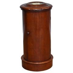 19th Century English Victorian Mahogany Cylindrical Pot Cupboard