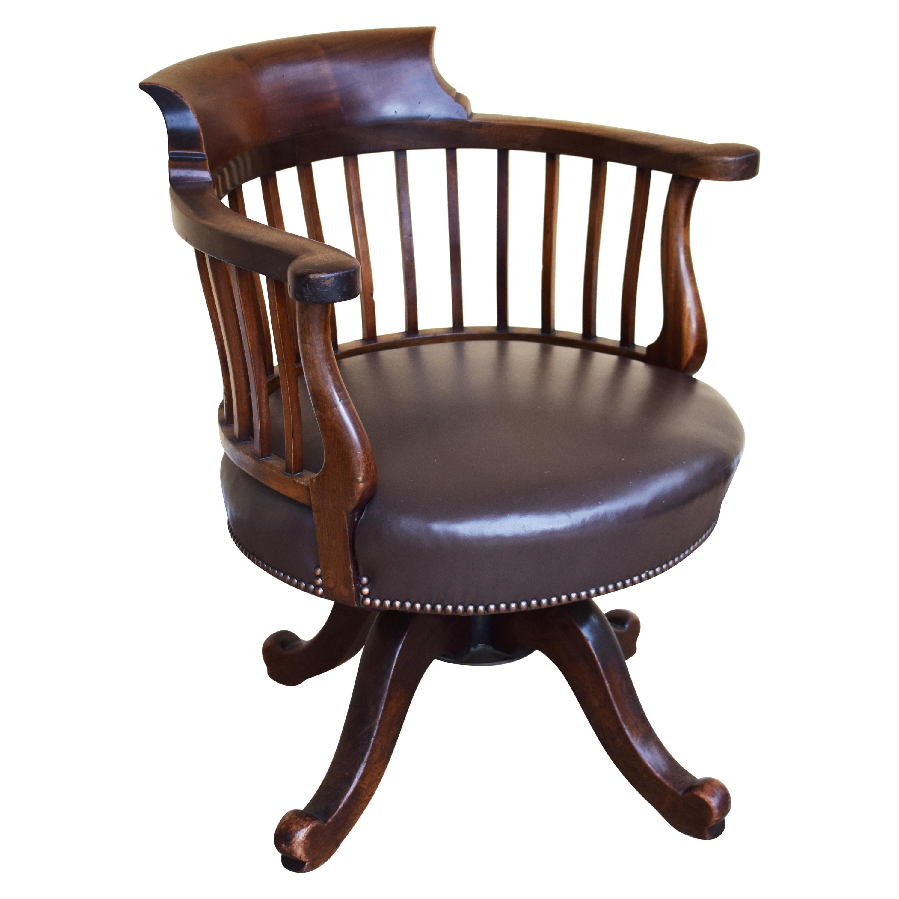 19th Century English Victorian Mahogany Desk Chair