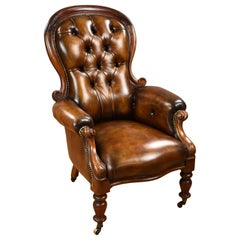 19th Century English Victorian Mahogany Hand Dyed Leather Armchair