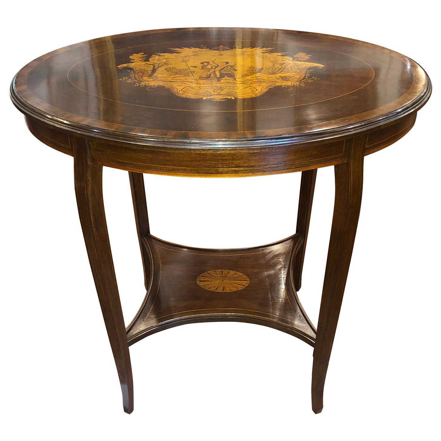 19th Century English Victorian Mahogany Inlay Side Table 1890s