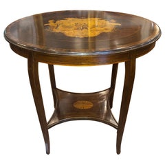 19th Century English Victorian Mahogany Inlay Side Table 1890s