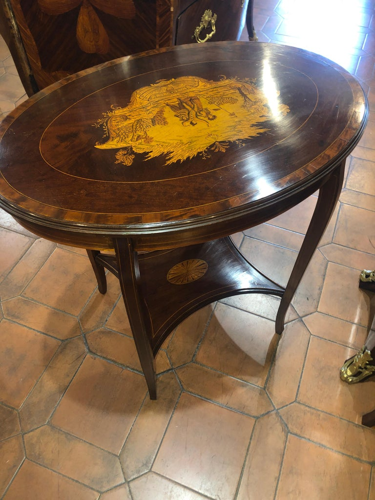 Late Victorian 19th Century English Victorian Mahogany Inlay Table, 1890s For Sale