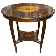 19th Century English Victorian Mahogany Inlay Table, 1890s