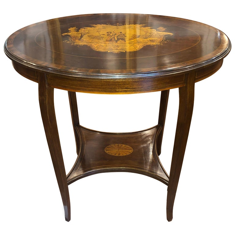 19th Century English Victorian Mahogany Inlay Table, 1890s For Sale