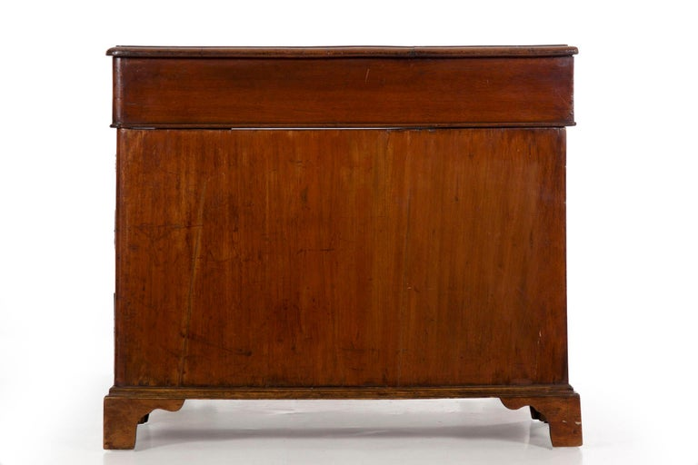 19th Century English Victorian Mahogany Leather Antique Pedestal Desk For Sale 10