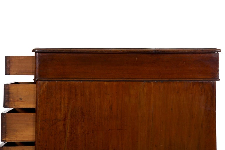 19th Century English Victorian Mahogany Leather Antique Pedestal Desk For Sale 11