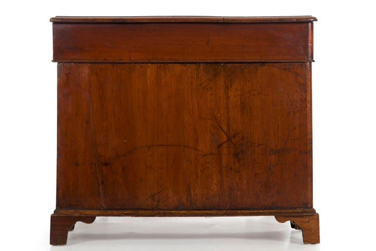 19th Century English Victorian Mahogany Leather Antique Pedestal Desk For Sale 14