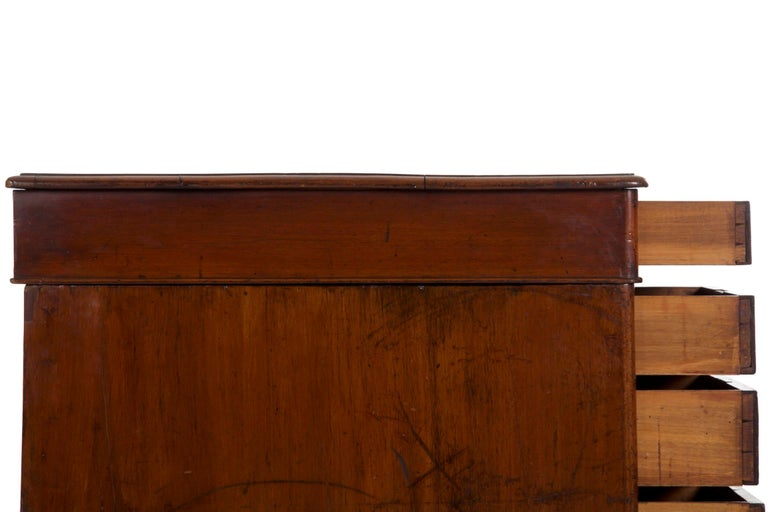 19th Century English Victorian Mahogany Leather Antique Pedestal Desk For Sale 15