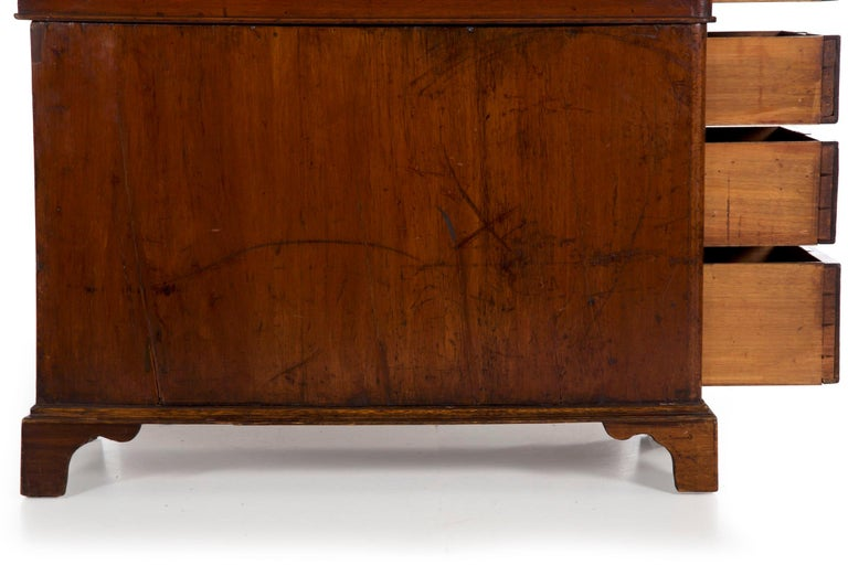 19th Century English Victorian Mahogany Leather Antique Pedestal Desk For Sale 16