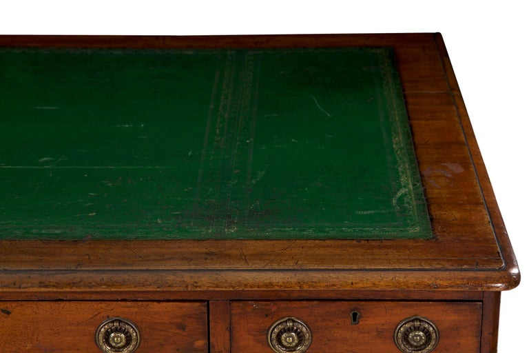 Brass 19th Century English Victorian Mahogany Leather Antique Pedestal Desk For Sale