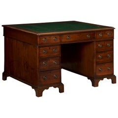 19th Century English Victorian Mahogany Leather Antique Pedestal Desk