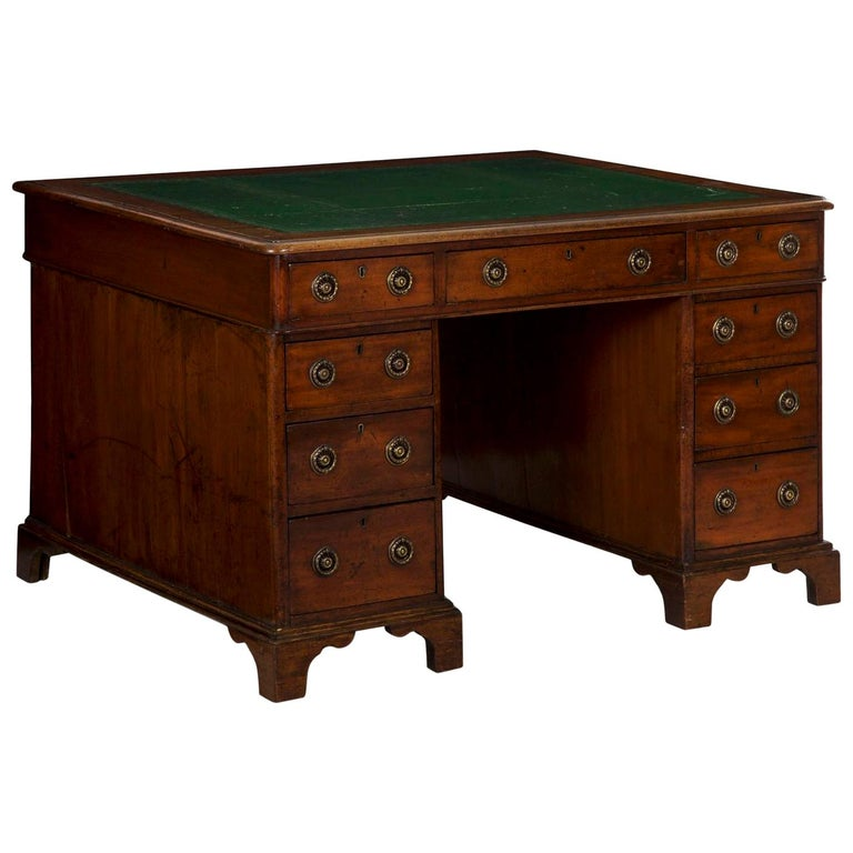 19th Century English Victorian Mahogany Leather Antique Pedestal Desk For Sale