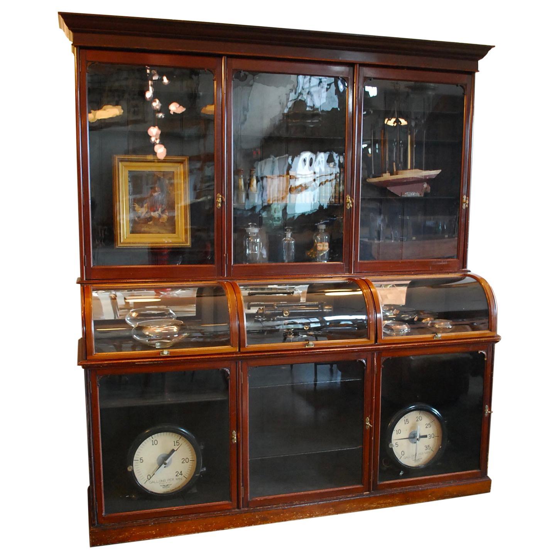 19th Century English Victorian Mahogany Mercantile Apothecary Display Cabinet