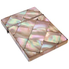 19th Century English Victorian Mother of Pearl Calling Card Case