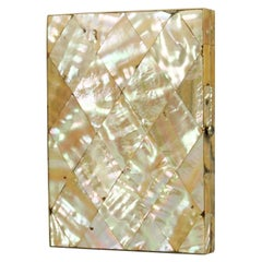 19th Century English Victorian Mother of Pearl Card Case with Blue Silk Interior
