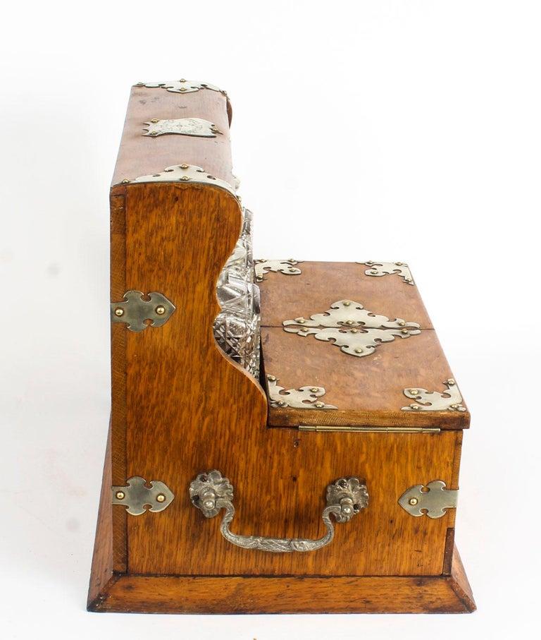 19th Century English Victorian Oak Three Crystal Decanter Tantalus  For Sale 7
