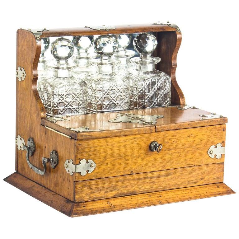 19th Century English Victorian Oak Three Crystal Decanter Tantalus  For Sale