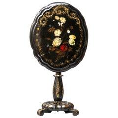 19th Century English Victorian Oval Black Painted Papier Mâché Tilt-Top Table