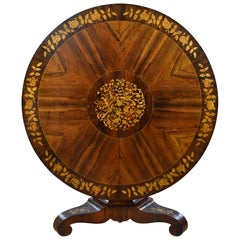 19th Century English Victorian Rosewood Marquetry Circular Table by Druce & Co