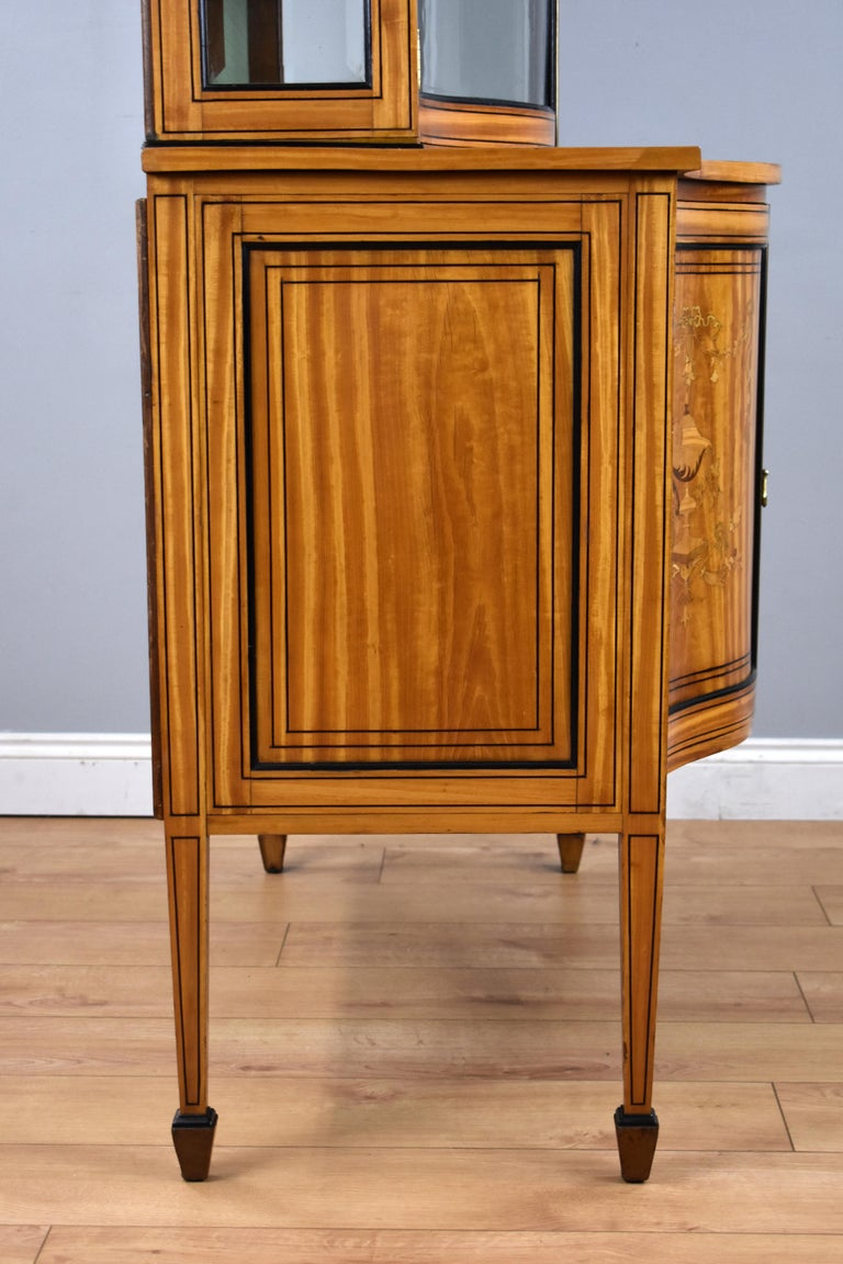 19th Century English Victorian Satinwood Display Cabinet For Sale 11