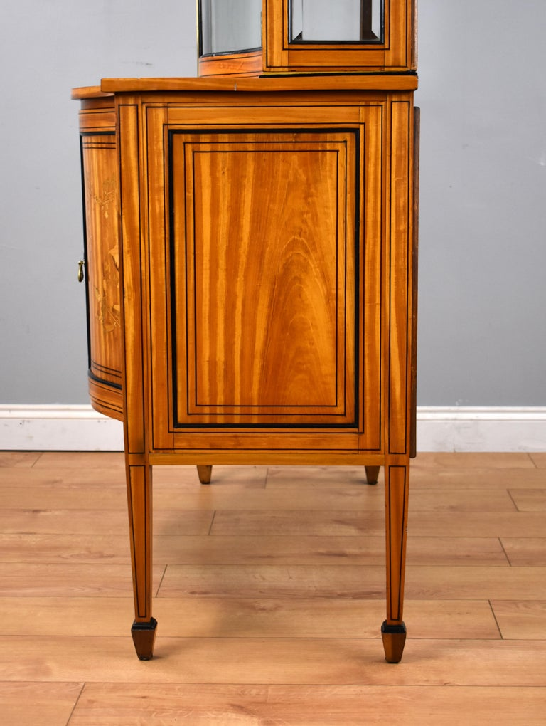 19th Century English Victorian Satinwood Display Cabinet For Sale 13