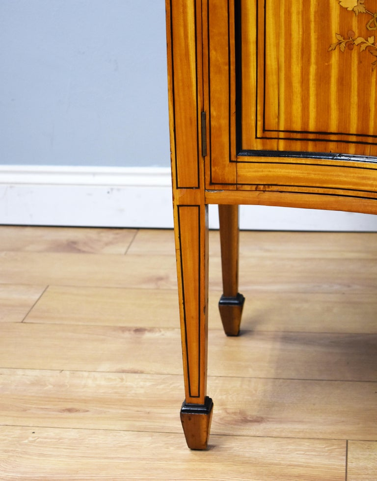 19th Century English Victorian Satinwood Display Cabinet For Sale 4