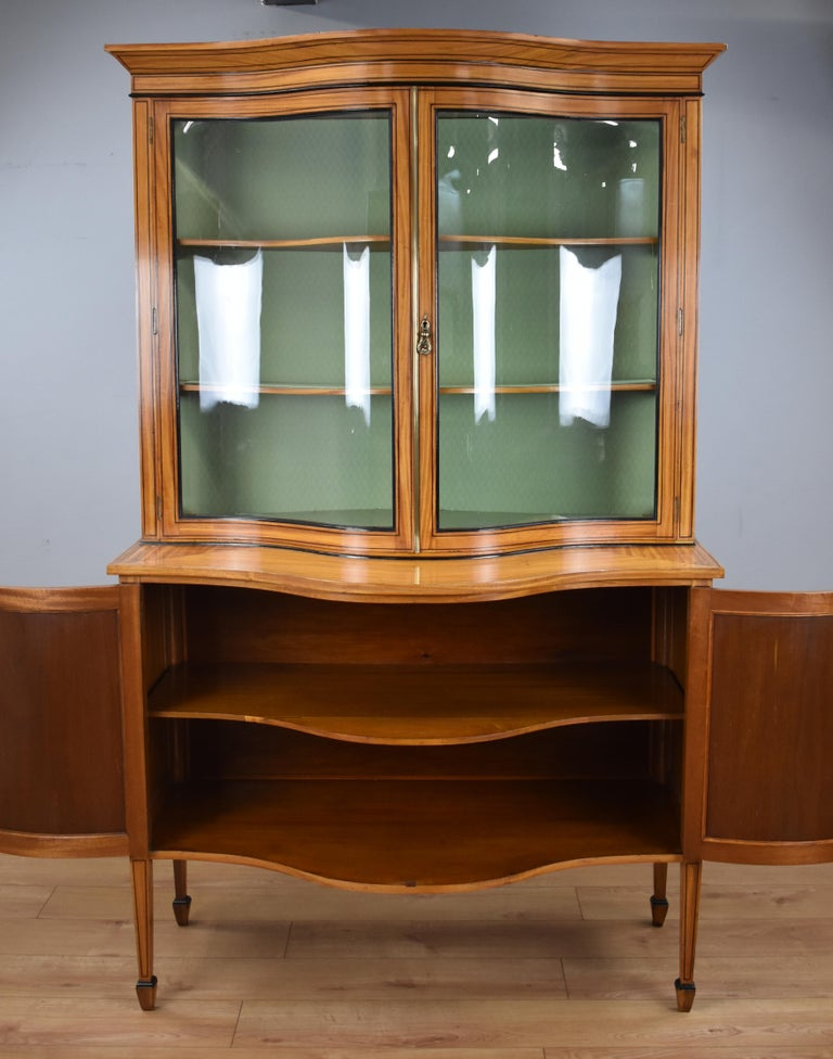 19th Century English Victorian Satinwood Display Cabinet For Sale 5